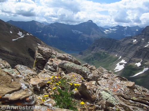 Not-a-great-photo of the views south of the ridge above Siyeh Pass, Glacier National Park, Montana