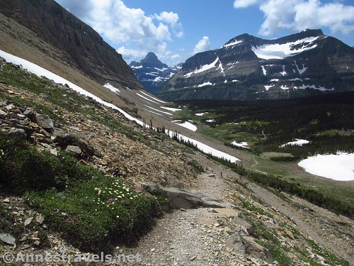 Looking down on Preston Park from the Siyeh Pass Trail, Glacier National Park, Montana