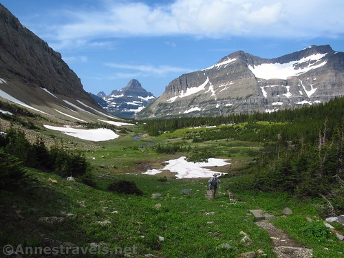 Hiking up out of Preston Park on the Siyeh Pass Trail, Glacier National Park, Montana