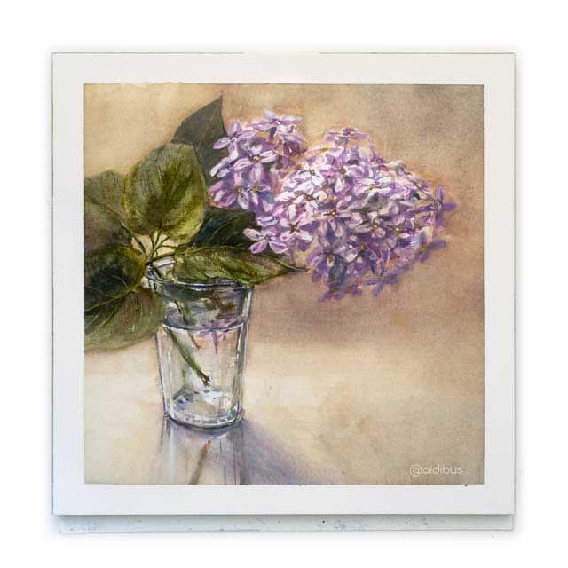 Vaso con lilas