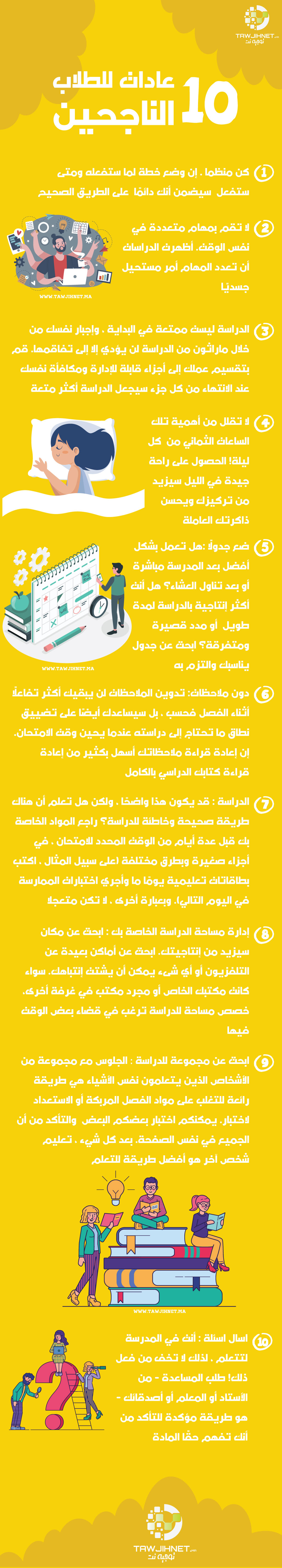 10 عادات للطلاب الناجحين createed by tawjihnet.ma