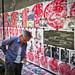 China, Pingyao - Street vendor of paper cutting art - May 2012