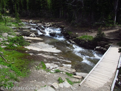 The waterfall near the bridge over Siyeh Creek, Siyeh Pass Trail, Glacier National Park, Montana