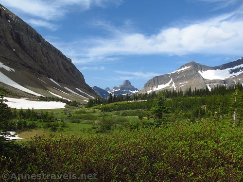 Views of Reynolds Mountain (center) and Piegan Mountain (with Piegan Glacier to the right) from shortly after the stream crossing, Siyeh Pass Trail, Glacier National Park, Montana
