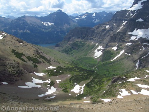 Views south from the ridge east of Siyeh Pass, Glacier National Park, Montana