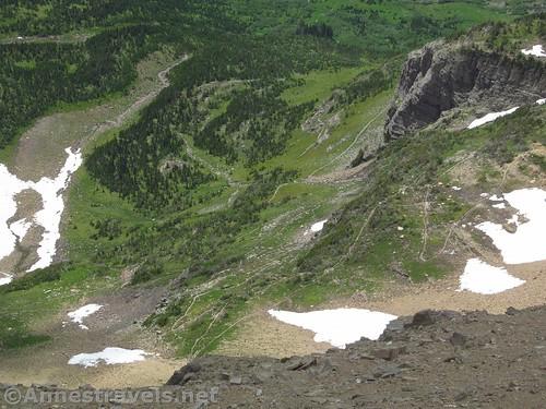 The switchbacks heading south from Siyeh Pass toward Sunrift Gorge, Glacier National Park, Montana