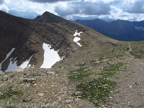 Hiking down into Siyeh Pass, Glacier National Park, Montana