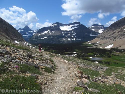 Descending back into Preston Park from Siyeh Pass, Glacier National Park, Montana