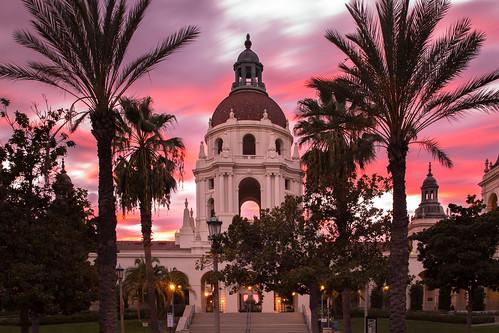 pasadena california city hall sunset palm trees baroque architecture