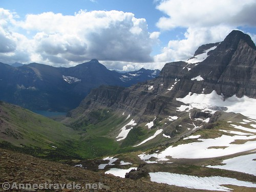 Views to the south of Siyeh Pass.  The peak on the right is Going-to-the-Sun Mountain. Glacier National Park, Montana