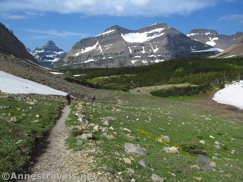 Climbing up the Siyeh Pass Trail but looking back down on Preston Park, Glacier National Park, Montana