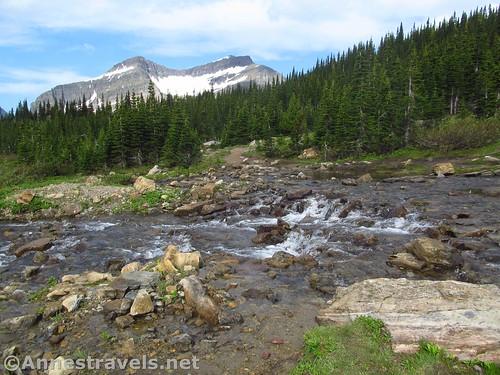 The stream crossing in Preston Park, Siyeh Pass Trail, Glacier National Park, Montana