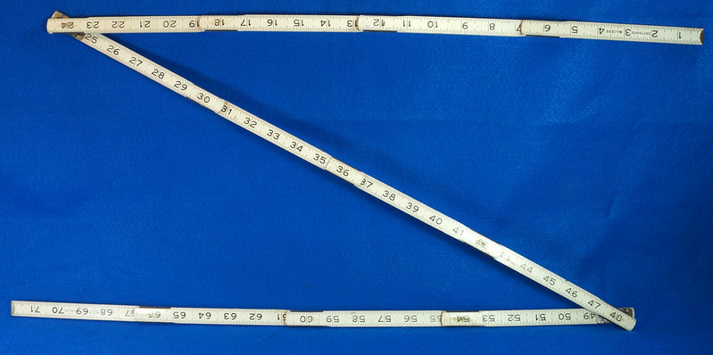 RD25457 Rare Vintage STANLEY No. 1296 Defiance Zig Zag Folding Ruler 72 inch DSC05050