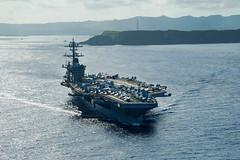 USS Theodore Roosevelt (CVN 71) departs Naval Base Guam, May 21. (U.S. Navy/MCSN Kaylianna Genier)