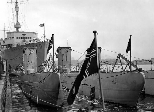 Submarines in Kiel, Germany during WW2.