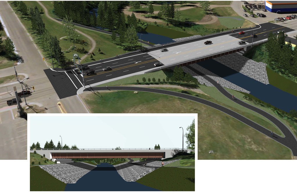 Construction of a new bridge to replace the existing three culverts under 8th Street in downtown Dawson Creek will start in early June. The bridge is designed to make travel safer and more efficient for people who live and work in the region, especially during freshet season.