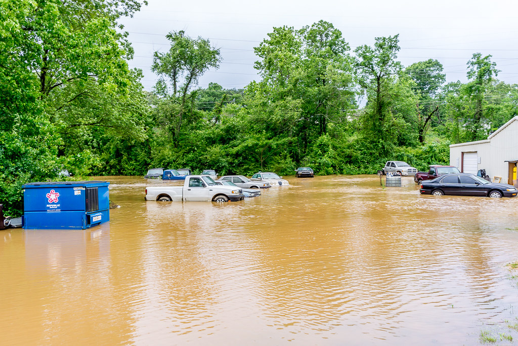 Flooded junkyard