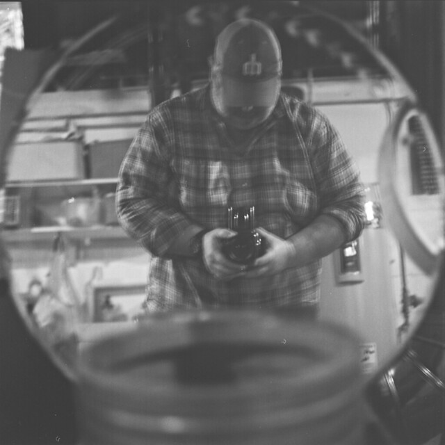 selfie in a basement mirror