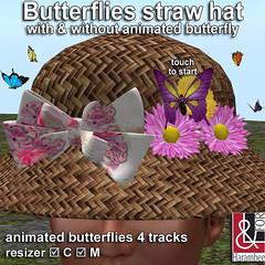 Butterflies straw hat