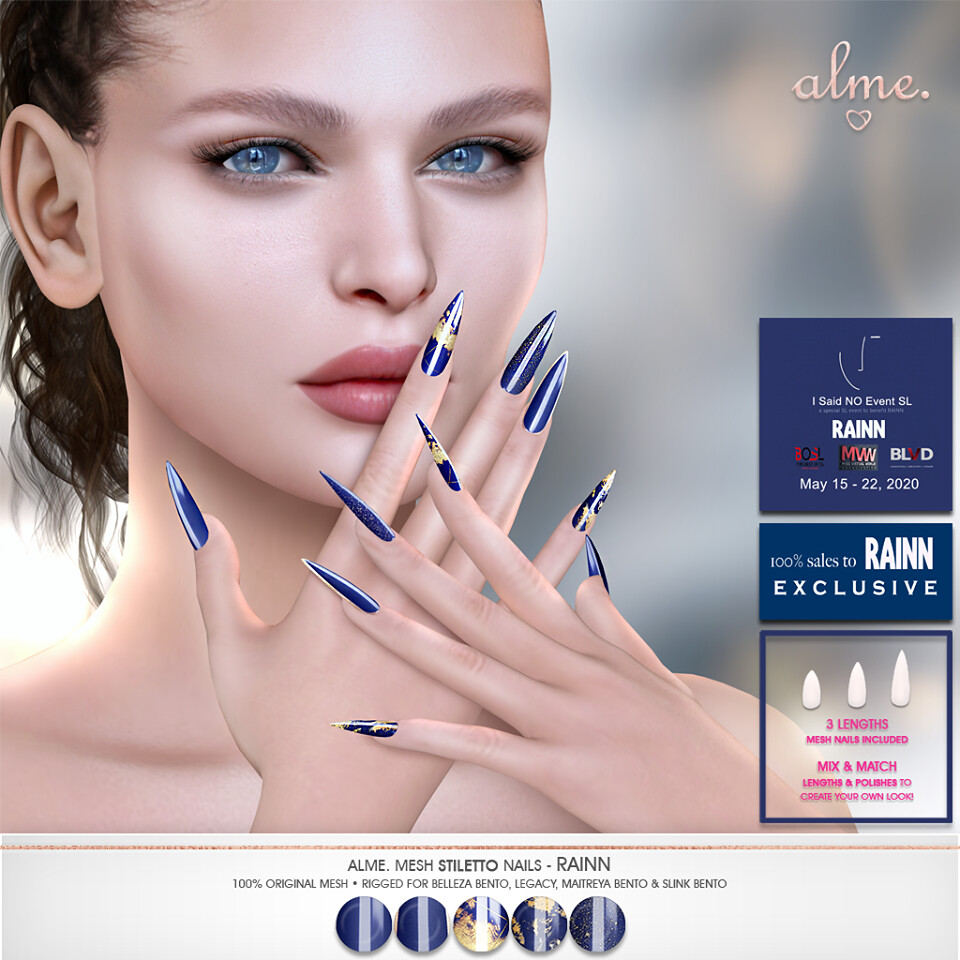 "Alme. for ""I SAID NO"" Charity Event ""Alme Mesh Stiletto Nails// RAINN"""