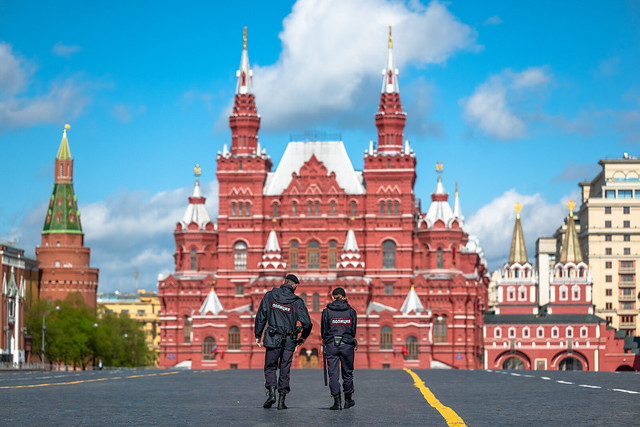 Russia. Moscow. Police on an empty Red Square.