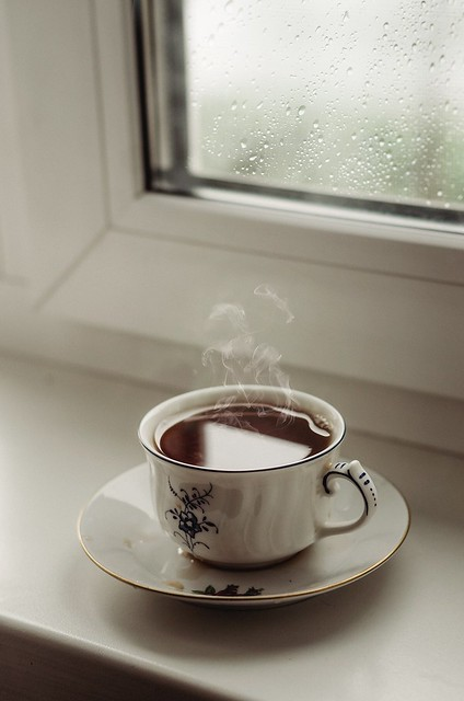 Morning and rainy.  I like the weather.  And a cup of coffee to start the day!