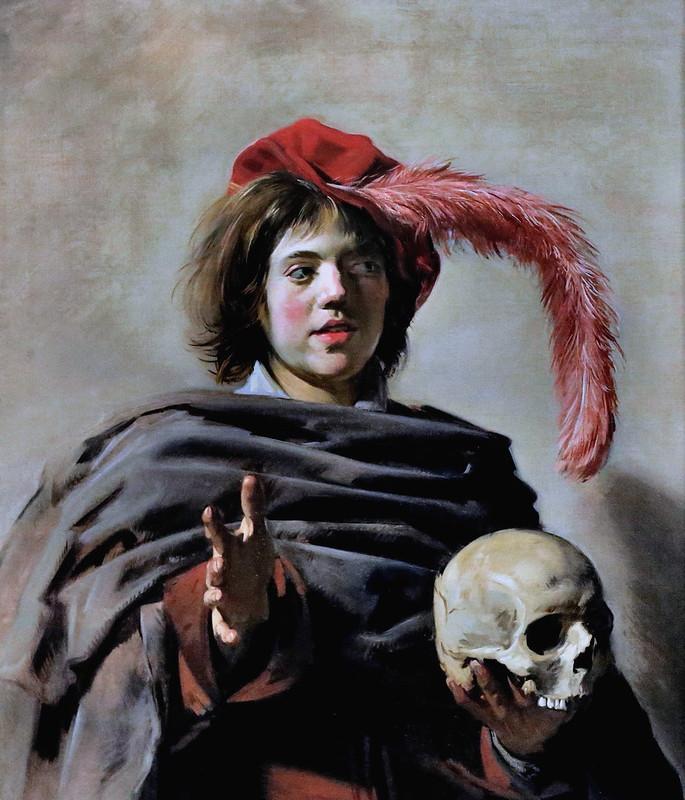 IMG_4910G Frans Hals. 1582-1666. Haarlem.   Jeune homme tenant un crâne. Young Man holding a Skull.  (Vanitas)  vers 1627.   Londres. National Gallery.
