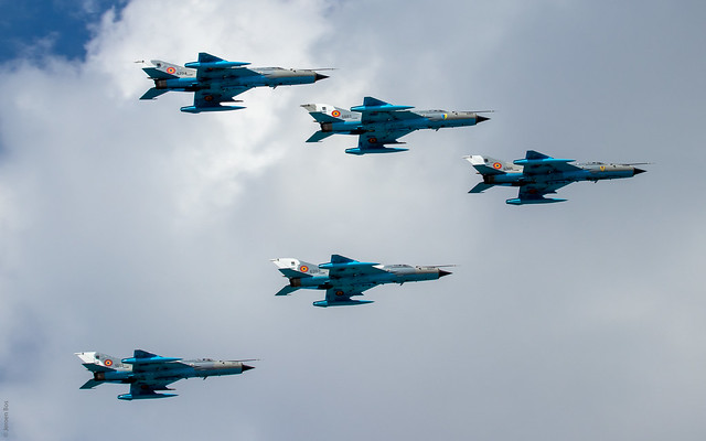 Formation of Romanian Air Force MiG-21MFs during the Bucharest International Air Show (BIAS) 2019