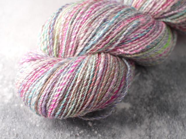 Handspun 4 ply / fingering / sock sparkle yarn in merino, silk, stellina and wool 83g – pastel unicorn