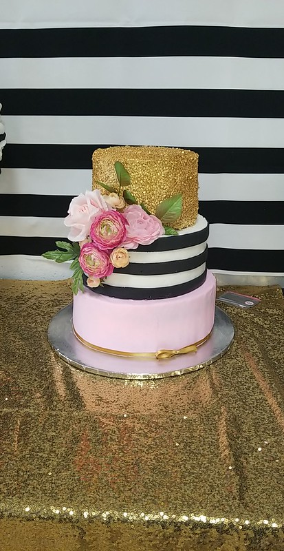 Baby Shower Pink and Gold Cake by Jen Davila of Herculicious Sweets