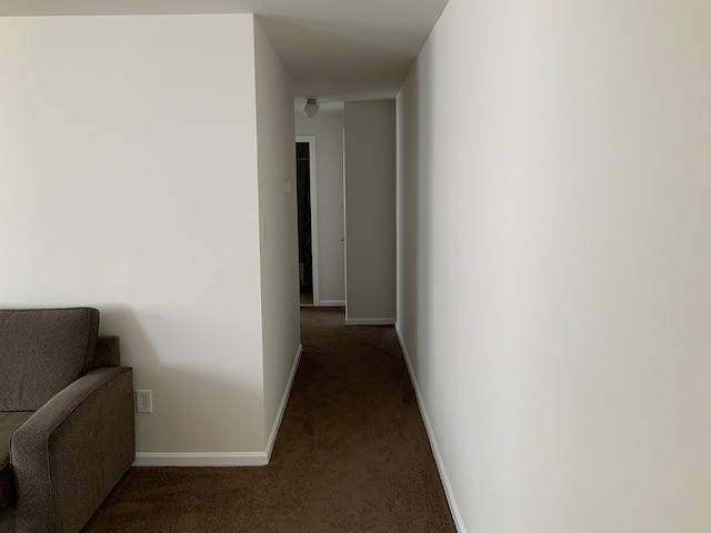Photo of a hallway, with part of a couch visible in the room where the photo was taken.