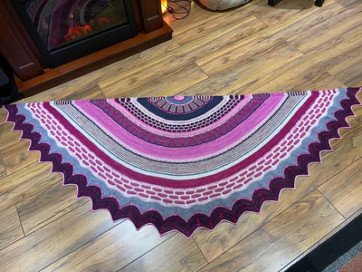Jen finished her second Stephen West Shawl! This one is his Fantastitch! Awesome!
