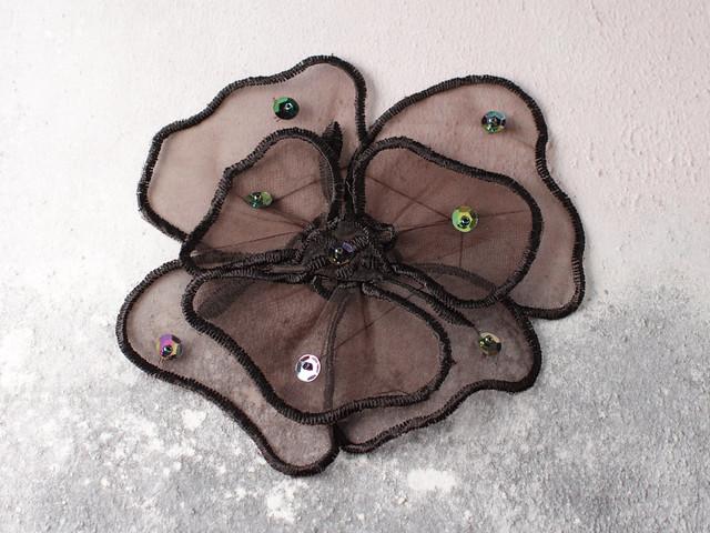Vintage sequinned appliqué poppy patch