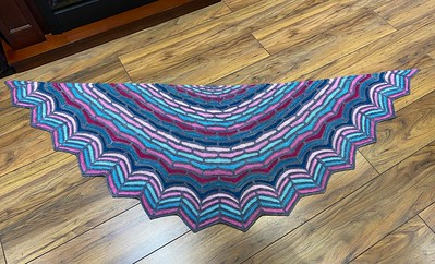 Jen's mom, Judy did an amazing job on her Painted Bricks Shawl by Stephen West!!