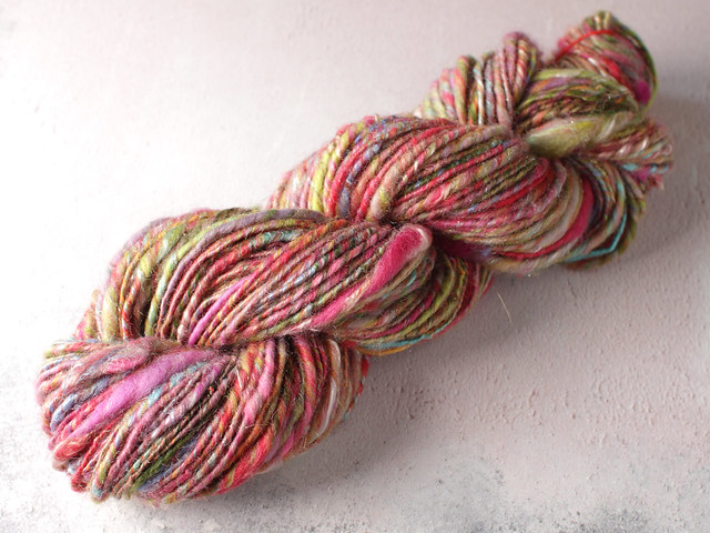 Handspun chunky / bulky thick-and-thin core spun art yarn 80g – multicolour