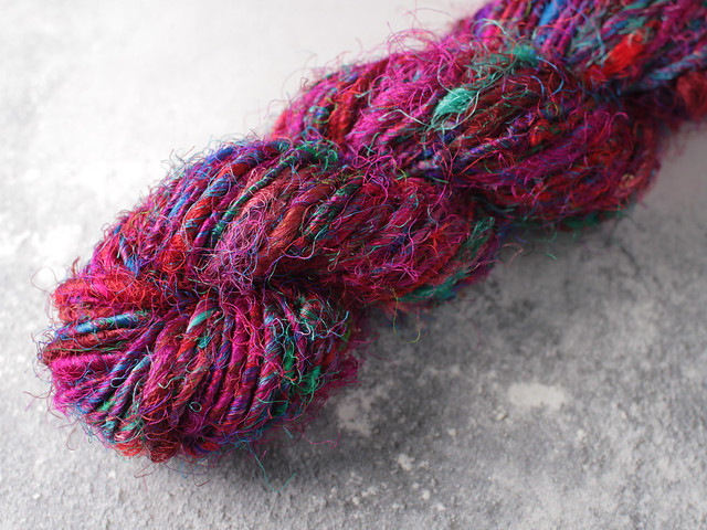 Destash: Recycled sari silk singles yarn 96g – purple / multicolour