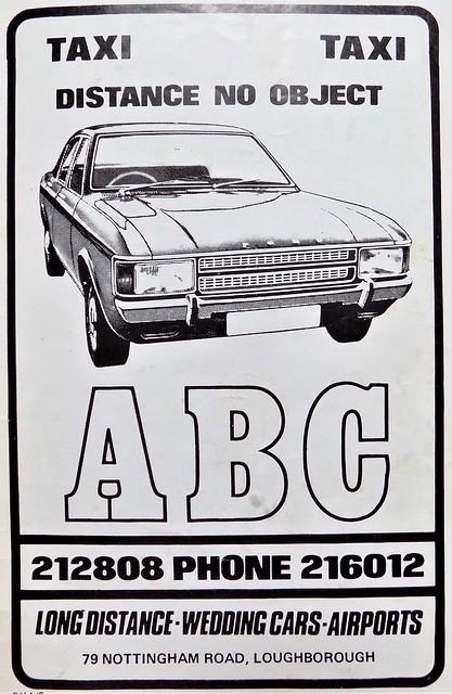 1979 ADVERT - ABC TAXIS NOTTINGHAM ROAD LOUGHBOROUGH