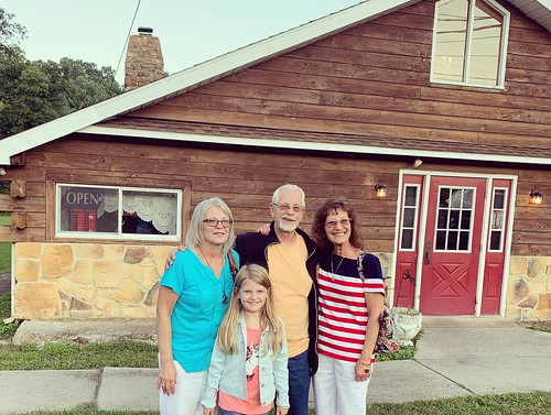 My mom in the striped shirt with her cousin Janice, her husband Bob, and granddaughter, Maggie Mae. From Why Bedford, PA was the Perfect Place for a Mother/Daughter Trip