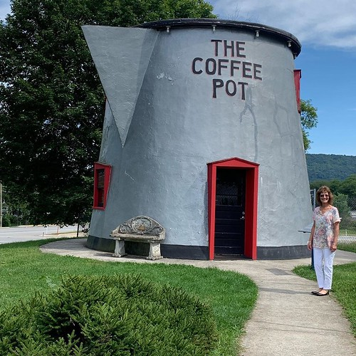My mom with the coffee pot. From Why Bedford, PA was the Perfect Place for a Mother/Daughter Trip