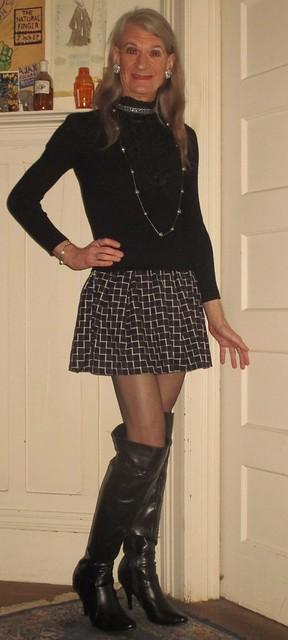 Short dress, tall boots