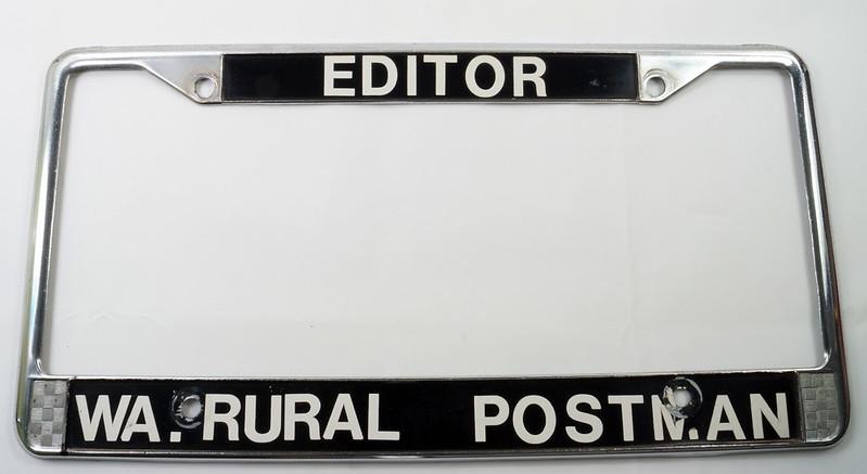 RD17019 Vintage Steel License Plate Frame EDITOR WA. RURAL POSTMAN DSC05165