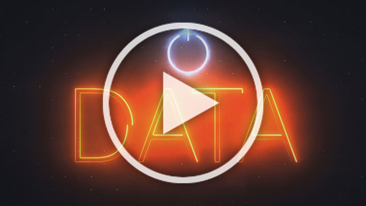 The word 'data' on a black and orange background