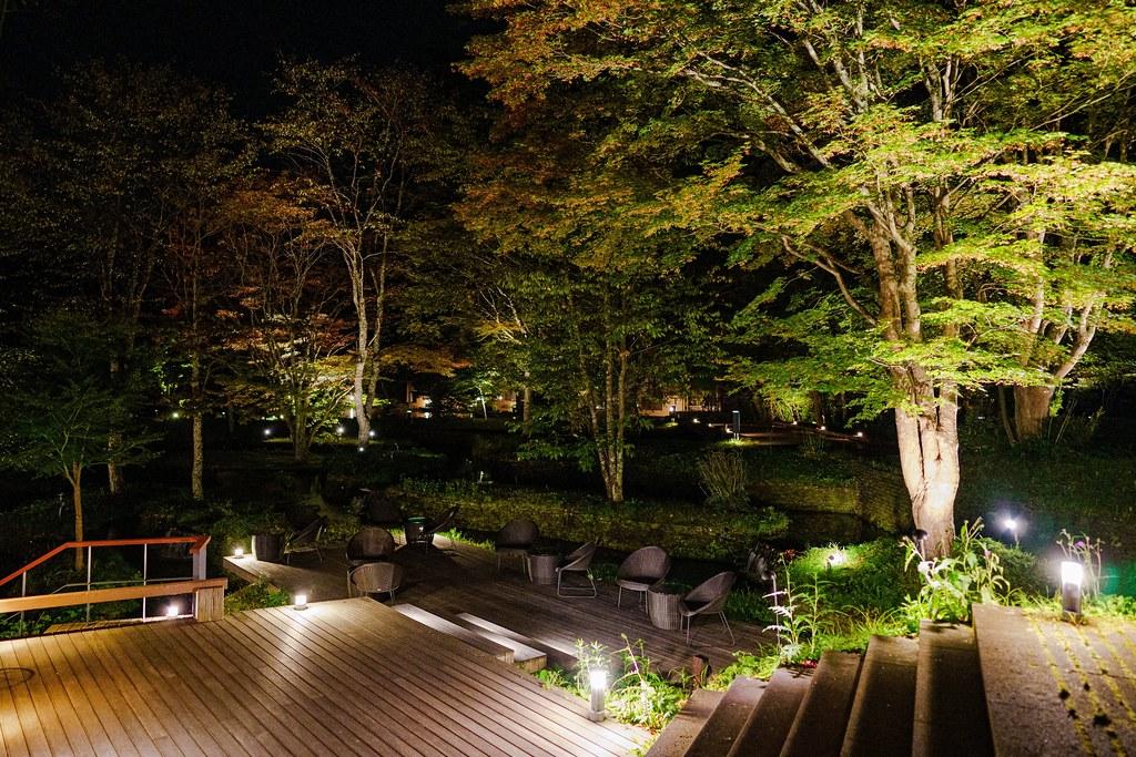 幻想的な水辺の夜景 テラス