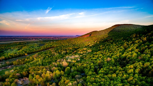 Sunset of mont st hilaire with dji drone
