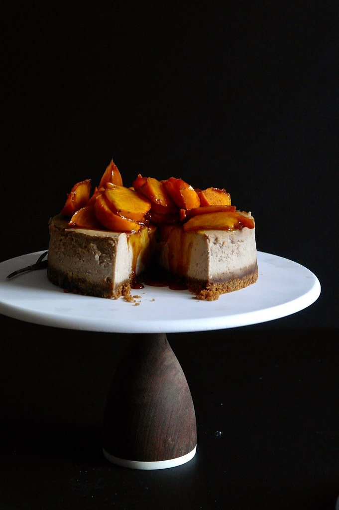chestnut cheesecake with caramelized persimmons