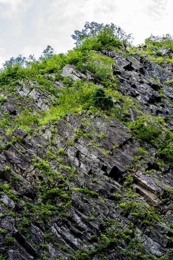 清津峡の渓谷にみられる柱状節理の壁