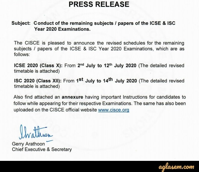 ISC Time Table 2020 (Exams Cancelled) - Check New ISC Class 12 Exam Date 2020