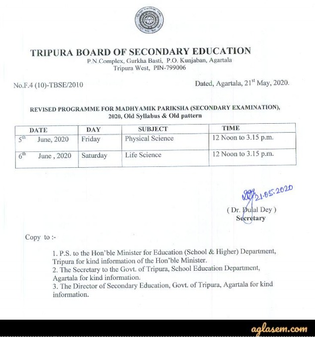 Tripura Madhyamik Routine 2020 for Re-Scheduled Exam
