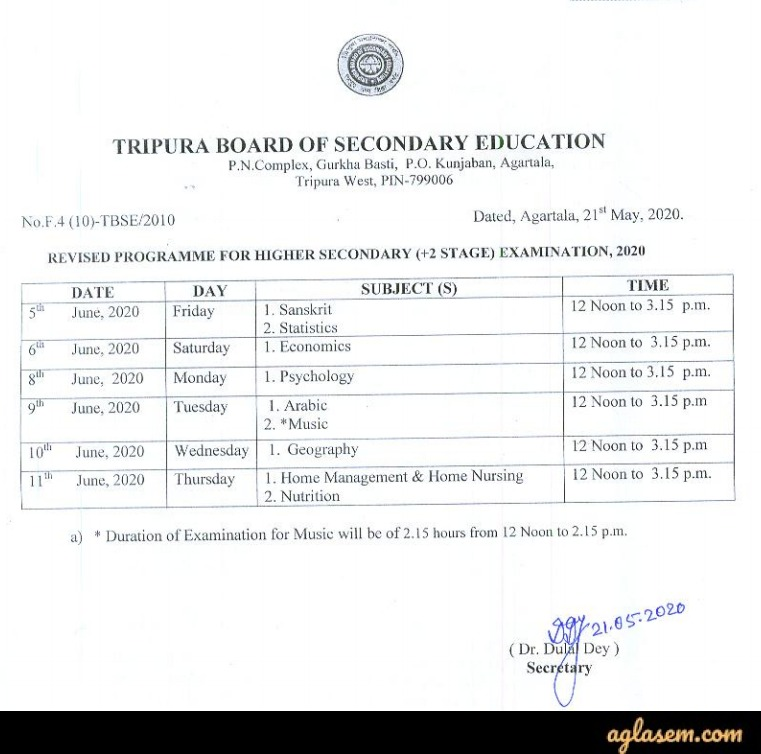 TBSE 12th Routine 2020 for Re-Scheduled Exam