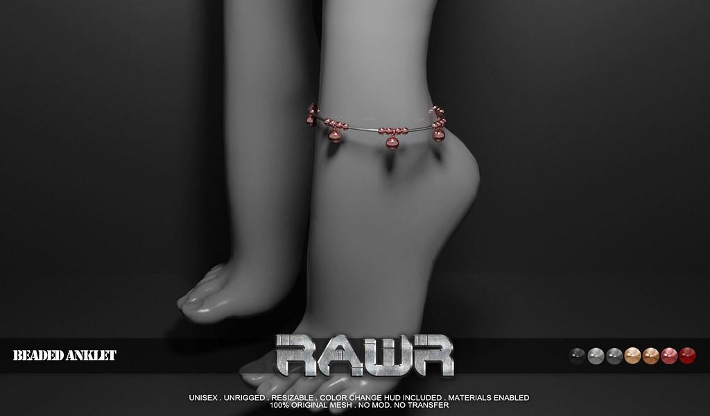 RAWR!  Beaded Anklet